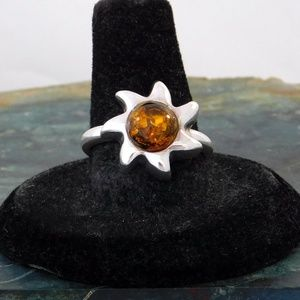 Vintage Ring 925 Sterling Silver Amber Inlay i68